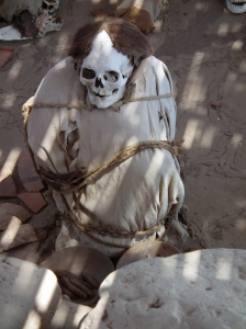 Mummified corpses in Naca are wrapped in cotton