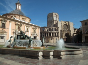 Valencia Cathedral and Neptune Fountain in Plaza de la Virgen, Valencia