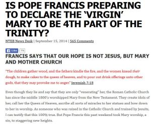 Headline: Pope Francis Hints At Mary Being part of the Trinity