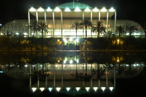 Reflection of concert hall in water, Valencia