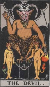 The Devil tarot card from the Rider-Waite deck