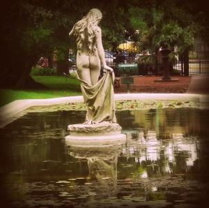 Venus statue in pond of botnacial gardens, Buenos Aires