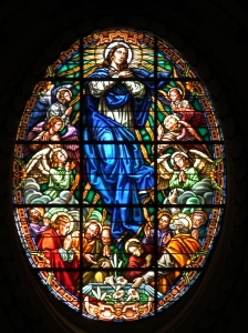 Mother Mary oval stain glass window, Valencia Cathedral