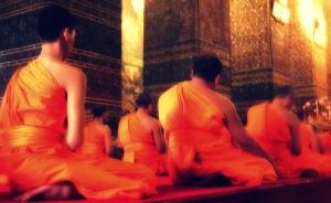 Meditating Buddhist monks