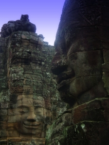 Carved faces in stone at Bayon