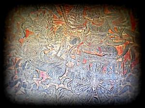 Lokeshvara, a Bodhisattva riding chariot pulled by lion