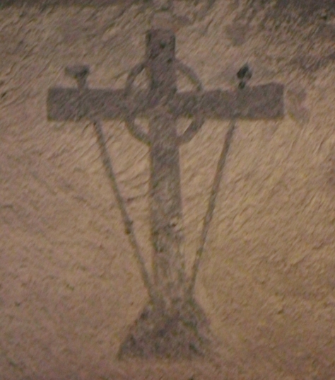 2nd century celtic cross in Christian catacombs, Italy