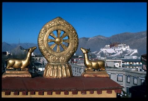 Dharma wheel and deer, Lhasa, Tibet