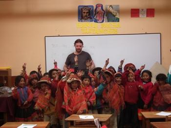 Richard Oldale with Peruvian school children in Willocq