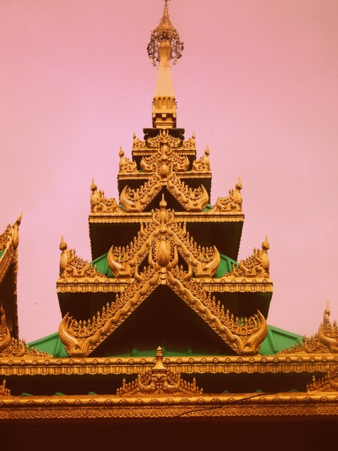 Buddhist temple with triangle roofs