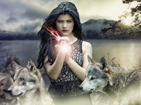 Two wolves from ancient Shamanic myth
