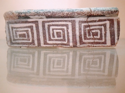 Geometric squares on a ceramic bowl